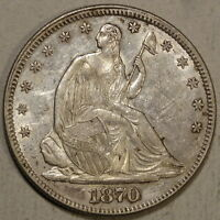 1870 SEATED LIBERTY HALF DOLLAR ALMOST UNCIRCULATED  DISCOUNTED 0523 11