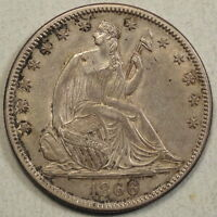 1866 SEATED LIBERTY HALF DOLLAR CHOICE ALMOST UNCIRCULATED   0708 08