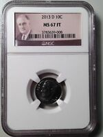 2013 D ROOSEVELT DIME NGC MS67FT