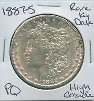 1887-S MORGAN DOLLAR  KEY DATE US MINT SILVER COIN PQ HIGH GRADE