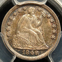 1849 SEATED LIBERTY HALF DIME 1849/8 PCGS CERTIFIED ORIGINAL UNCIRCULATED COIN