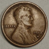 1913-S LINCOLN CENT, BETTER DATE, PROBLEM FREE FINE  1128-07