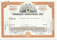 SPARTANS INDUSTRIES INC..1970 STOCK CERTIFICATE