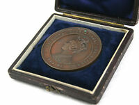 ANTIQUE VICTORIAN COPPER MEDAL COIN CALCUTTA EXHIBITION 1883 84 BOXED