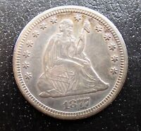 1877 CC SEATED LIBERTY SILVER QUARTER XF/AU G7864