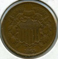 1865 2-CENT COIN - TWO CENTS - 3CN AG99
