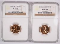 2 1960 LARGE DATE LINCOLN CENTS NGC PROOF 67 RED