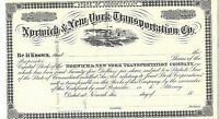 NORWICH & NEW YORK TRANSPORTATION CO.1800'S UISSUED STOCK CERTIFICATE