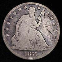 1875 CC SEATED LIBERTY HALF DOLLAR CHOICE VG  E350 EB