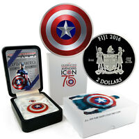 2016 FIJI 2 OZ. PROOF SILVER DOMED MARVEL CAPTAIN AMERICA SHIELD IN OGP SKU42254