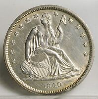 1840 LIBERTY SEATED HALF DOLLAR  SMALL LETTERS  CLEANED  BU 1175
