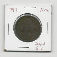 1797 1C DRAPED BUST LARGE CENT CHOICE VF WITH STEMS