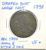 1798 DRAPED BUST LARGE CENT REVERSE OF 1797, SMALL 8, STYLE 2 HAIR VF