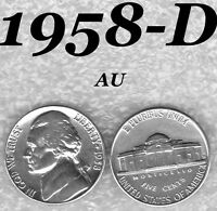 1958 D 5C JEFFERSON BRIGHT ALMOST UNCIRCULATED NICKEL.   AU