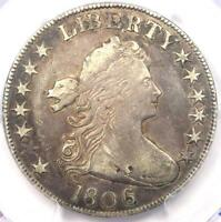 1806 DRAPED BUST HALF DOLLAR 50C COIN KNOB 6, SMALL STARS - PCGS VF DETAILS