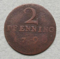 GERMAN STATES 2 PFENNIG 1790 MUNSTER    GL 335
