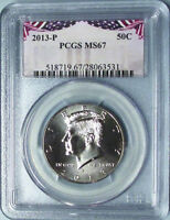 2013 P PCGS MS67 KENNEDY HALF DOLLAR BUSINESS STRIKE BUNTING LABEL