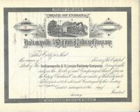 INDIANAPOLIS & ST. LOUIS RAILWAY COMPANY..1800'S UNISSUED STOCK CERTIFICATE