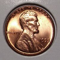 1955 LINCOLN WHEAT CENT  GEM BU RED
