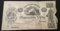 OBSOLETE CURRENCY $20 DOLLAR 1842 CITY OF NEW ORLEANS MUNICIPALITY NO. ONE