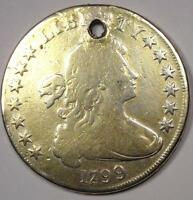 1799 DRAPED BUST SILVER DOLLAR $1   GOOD DETAILS HOLED    TYPE COIN