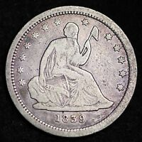 1839 SEATED LIBERTY QUARTER CHOICE VF  E270 HE