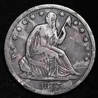 1867 S SEATED LIBERTY HALF DOLLAR CHOICE FINE/VF  E356 HT