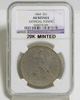 1844 LIBERTY SEATED DOLLAR  NGC  AU DETAILS ARTIFICIAL TONING 2067