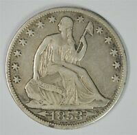 1853 O WITH ARROWS AND RAYS SEATED HALF DOLLAR VF