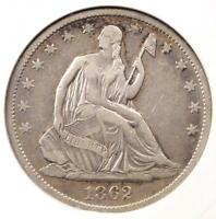 1862 S SEATED LIBERTY HALF DOLLAR 50C   ANACS VF35    CIVIL WAR DATE