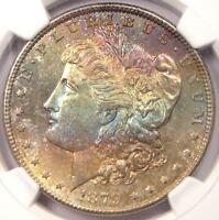 1879-S TONED MORGAN SILVER DOLLAR $1 - NGC MINT STATE 64 -  RAINBOW TONING