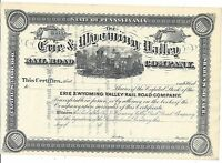 THE ERIE & WYOMING VALLEY RAILROAD COMPANY.1800'S UNISSUED STOCK CERTIFICATE
