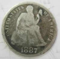 1887 SILVER SEATED LIBERTY DIME 23I