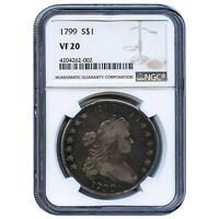 CERTIFIED DRAPED BUST DOLLAR 1799 VF20 NGC