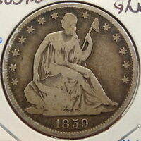 1859 O SEATED LIBERTY HALF DOLLAR PROBLEM FREE TYPE COIN  0308 04