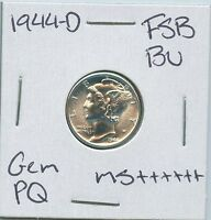 1944 D MERCURY DIME UNCIRCULATED US MINT PQ SILVER COIN GEM BU FSB MS