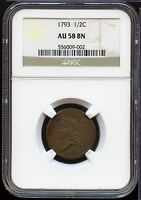 1793 LIBERTY CAP HALF CENT PENNY   NGC AU 58 BN CERTIFIED   MM241