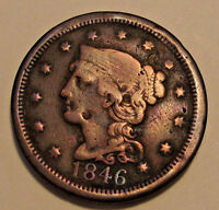 1846 BRAIDED HAIR   LARGE CENT  LOT Y96  TALL DATE   SEE PHOTOS U GRADE