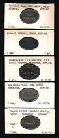 SCOTLAND. GROUP OF 5 DIFFERENT COMMUNION TOKENS. 1830   1854 IN LEAD
