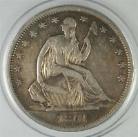 1861 S SEATED LIBERTY HALF DOLLAR XF