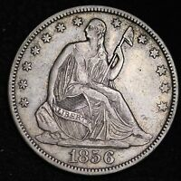 1856 SEATED LIBERTY HALF DOLLAR CHOICE XF/AU  E364 PN