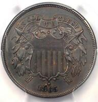 1865 TWO CENT PIECE 2C - PCGS UNCIRCULATED DETAIL MS UNC -  CERTIFIED COIN