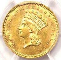 1862 INDIAN GOLD DOLLAR COIN G$1   CERTIFIED PCGS UNCIRCULATED DETAILS UNC MS