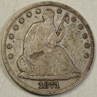 1871 S SEATED LIBERTY HALF DOLLAR GOOD TO FINE OLD HOARD COIN   0828 08