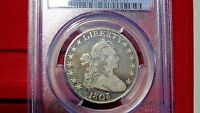 1806 50C PCGS VG10 POINTED 6 NO STEM EARLY HALF DOLLAR W/ORIGINAL COLORED LUSTER