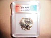 2007-P ICG - MINT STATE 67 JEFFERSON DOLLAR NEW & UNCIRCULATED