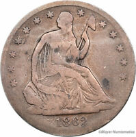 1862 S SEATED LIBERTY HALF DOLLAR 50C LF4595 F  FINE