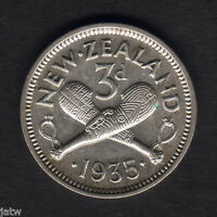 NEW ZEALAND. 1935 THREEPENCE.. PART LUSTRE.. VF/GVF