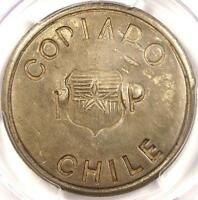 1865 CHILE COPIAPO PESO KM 4 RESTRIKE   PCGS AU55    CERTIFIED COIN IN AU