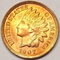 1907 INDIAN CENT PENNY 1C   UNCIRCULATED DETAILS UNC MS    COIN